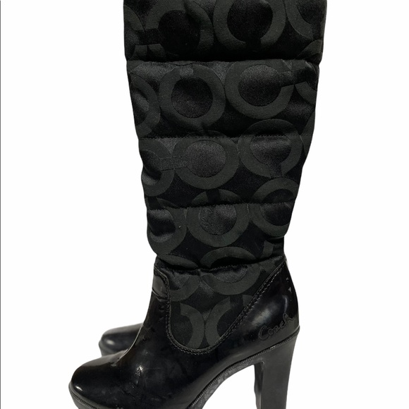 Coach Boots 7 Tall Heel Black Logo Winter